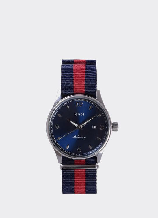 NAM Watch Blue Dial Mahameru Quartz with Blue Red Nato Strap MH-107 Watch