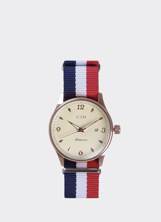 NAM Watch Cream Dial Mahameru Quartz with France Nato Strap MH-118 Watch