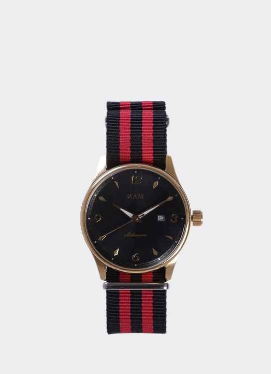 NAM Watch Black Dial Mahameru Quartz with Black & Red Nato Strap MH-129 Watch