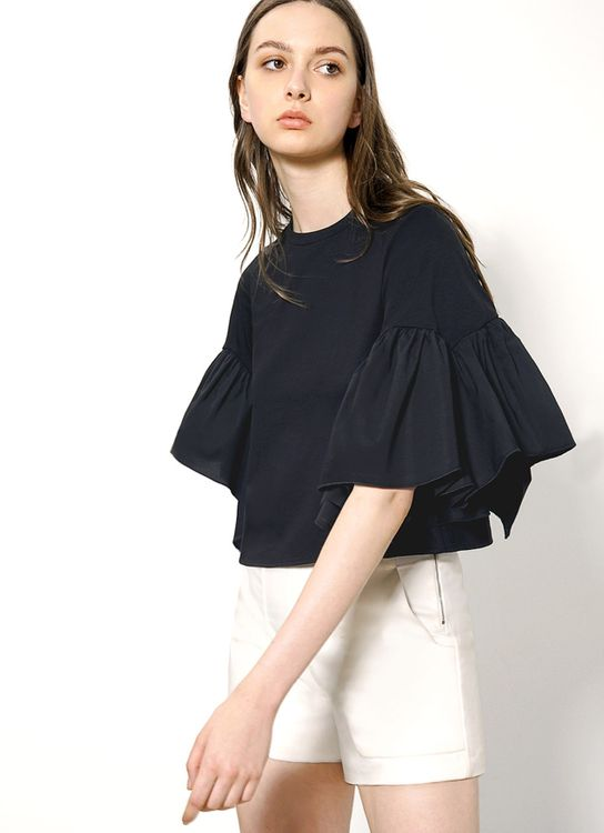 Saturday Club Black Gathered Wide Sleeve Top