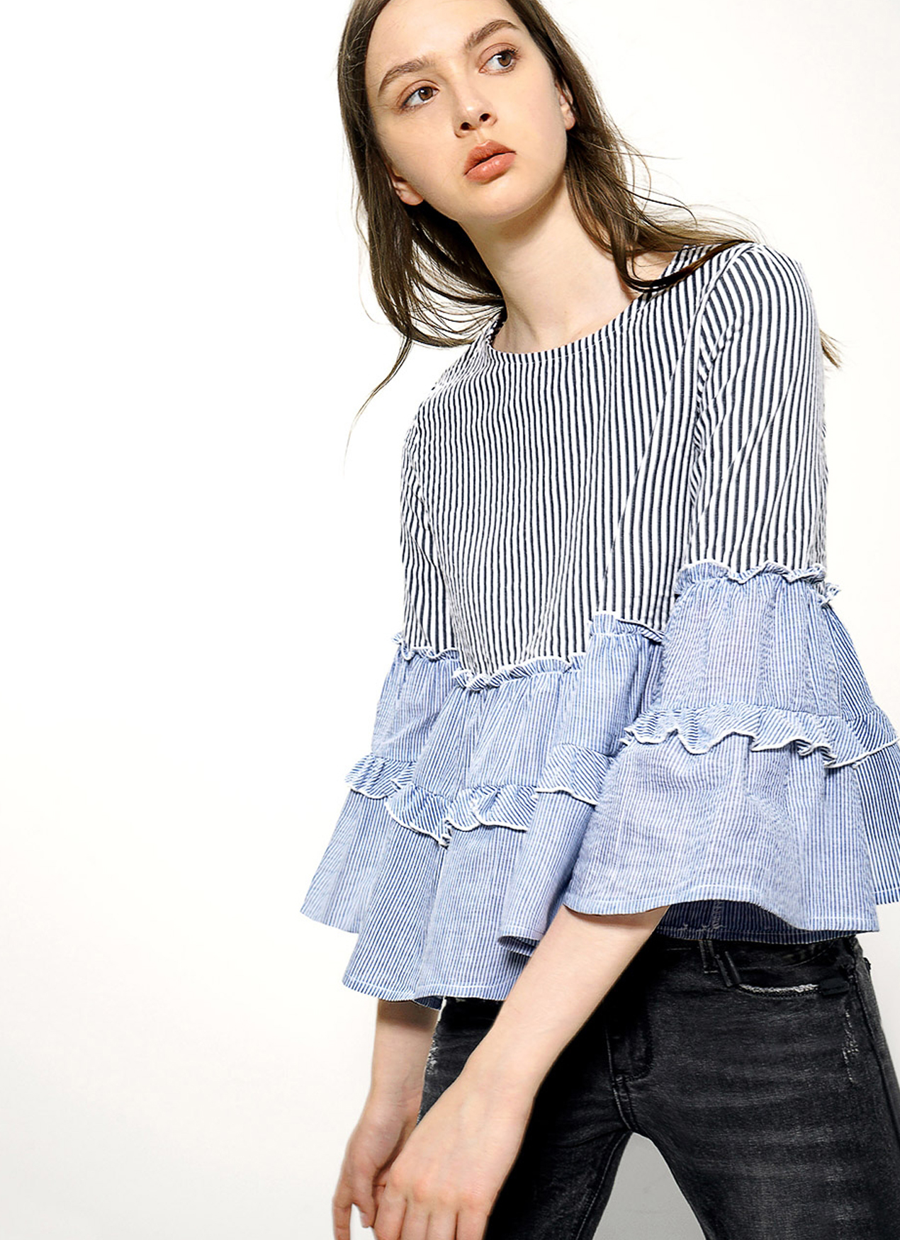 Saturday Club Blue Contrast Cotton Striped Gathered Top