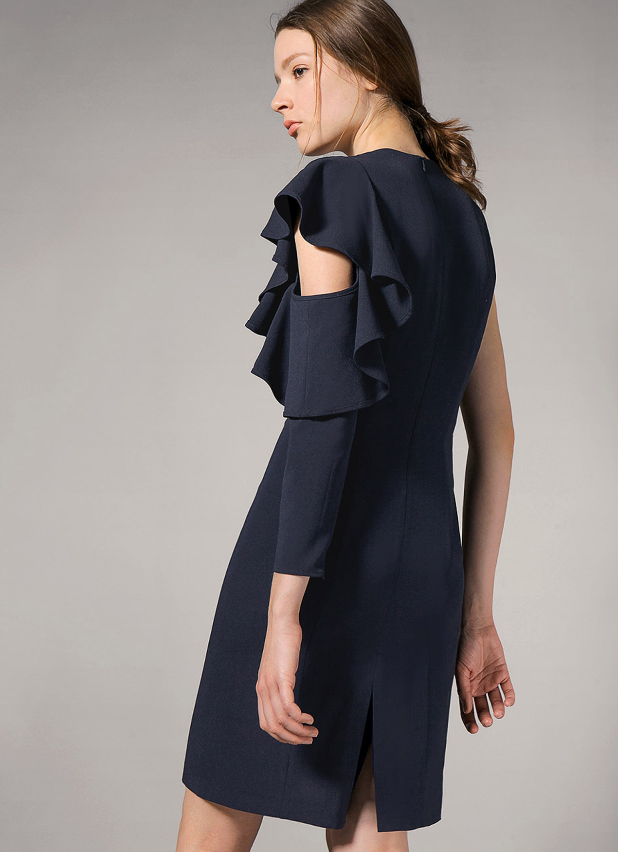 Saturday Club Navy One-shouldered Ruffle Midi Dress