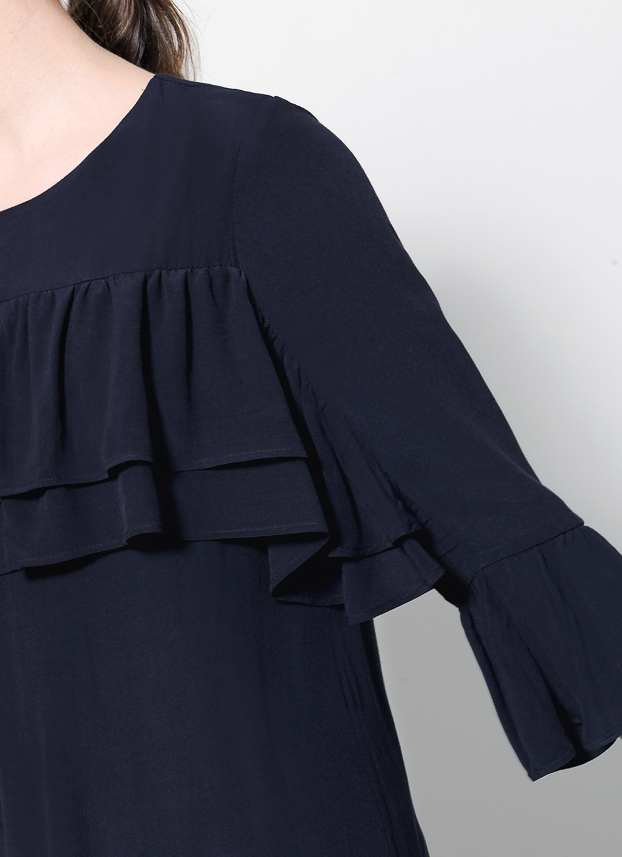 Saturday Club Navy Shift Dress With Gathered Bust Overlay