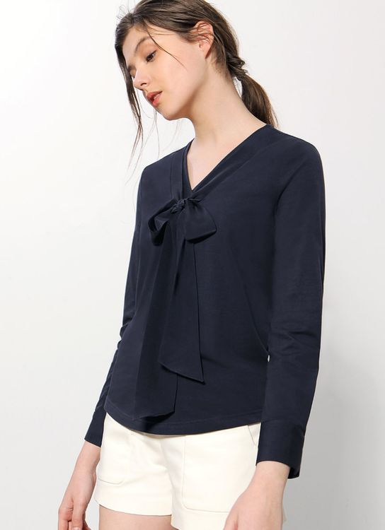 Saturday Club Navy Tie Front Long Sleeve Top