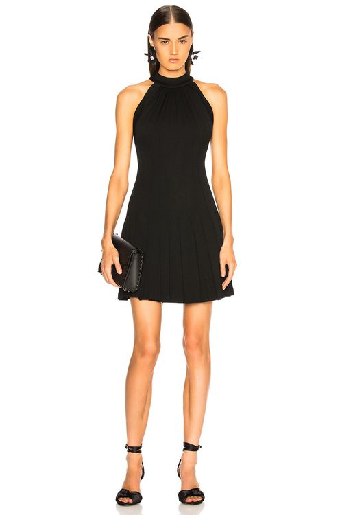 Brandon Maxwell Pebble Crepe Halter Pleated Mini Dress