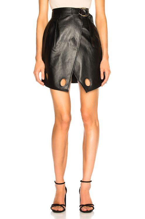 Self Portrait Faux Leather Wrap Skirt