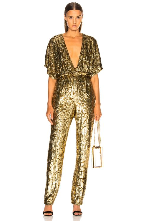 Sally Lapointe Silk Velvet Pleated Jumpsuit