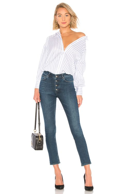 BCBGMAXAZRIA Stripe Button Up Blouse