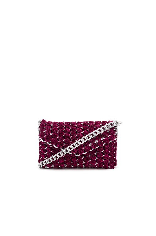 TAMBONITA Eve Shimmer Clutch with Silver Chain