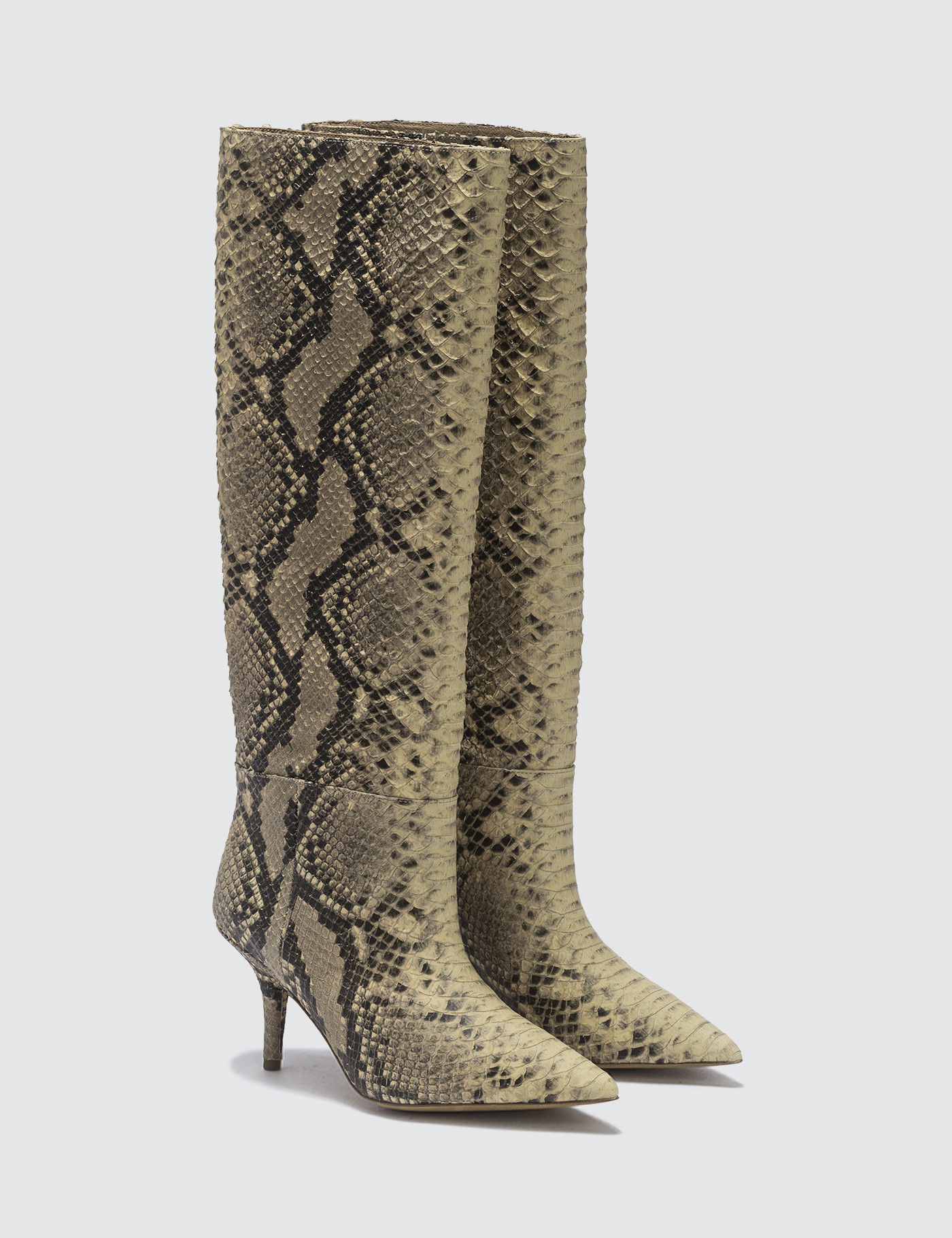 7928ce52a5bab Buy Original Yeezy Knee High Boot In Fake Python 70mm Heel at ...