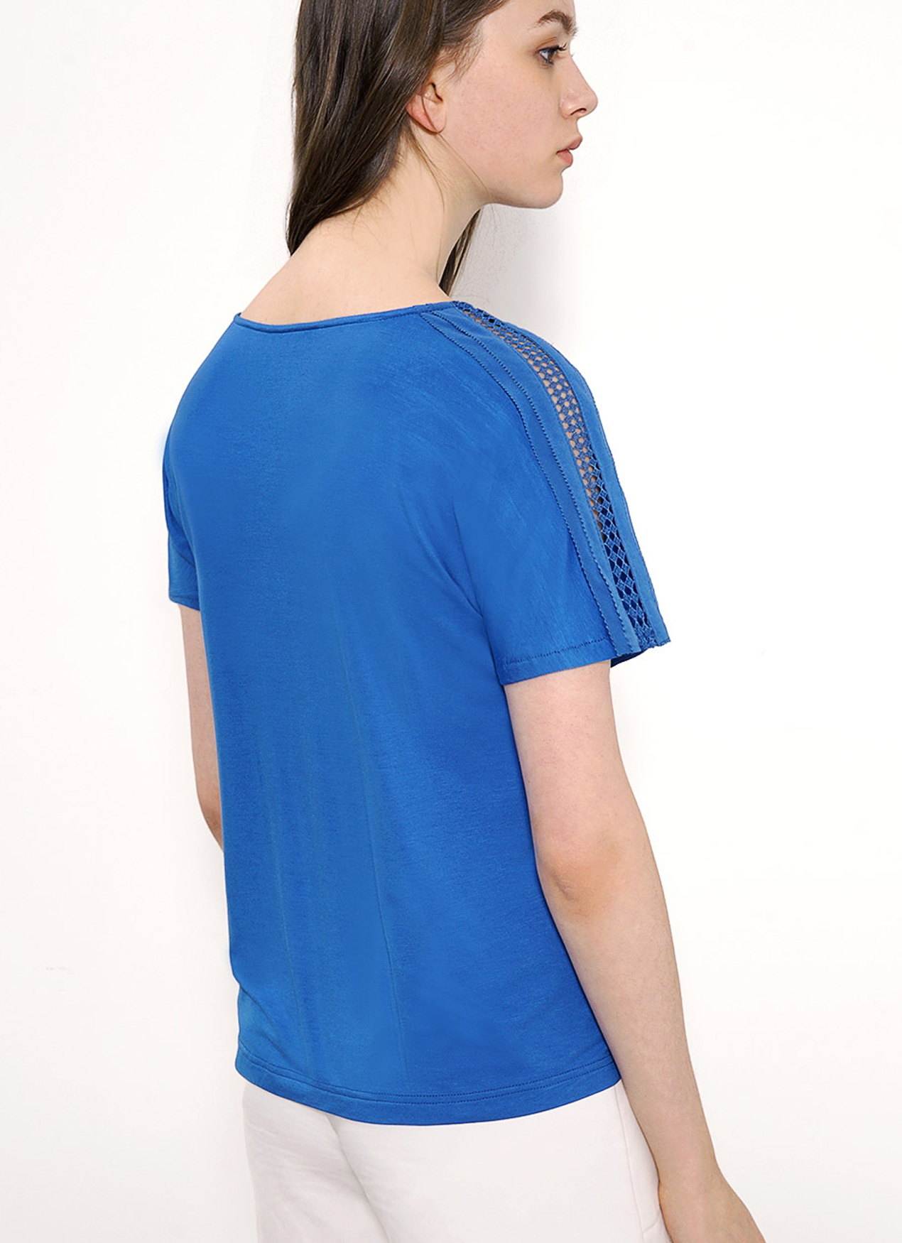 Saturday Club Blue Boat Neck T-shirt With Lace Trim