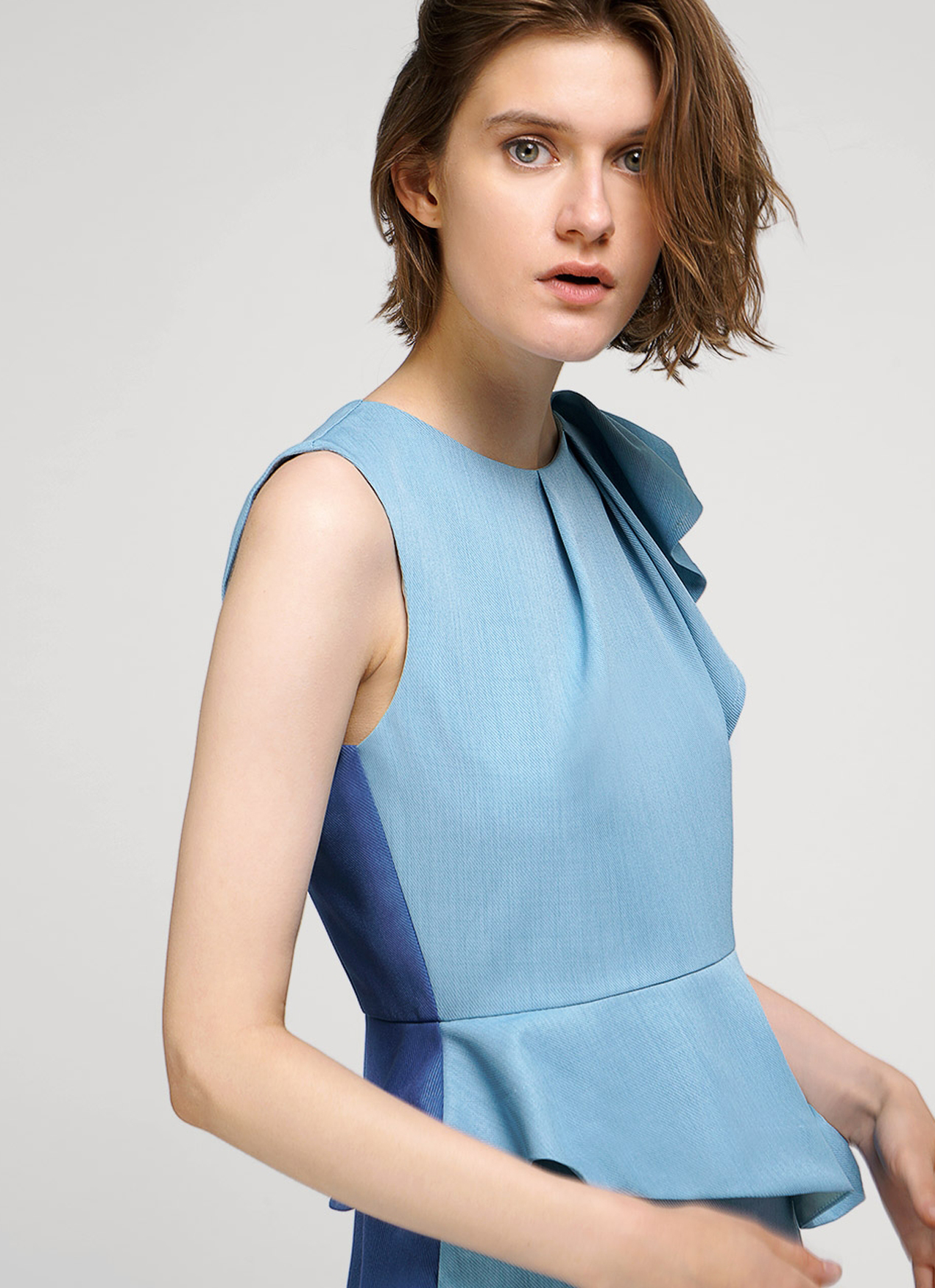 Saturday Club Blue Lagoon Peplum Dress With Pleated Shoulders