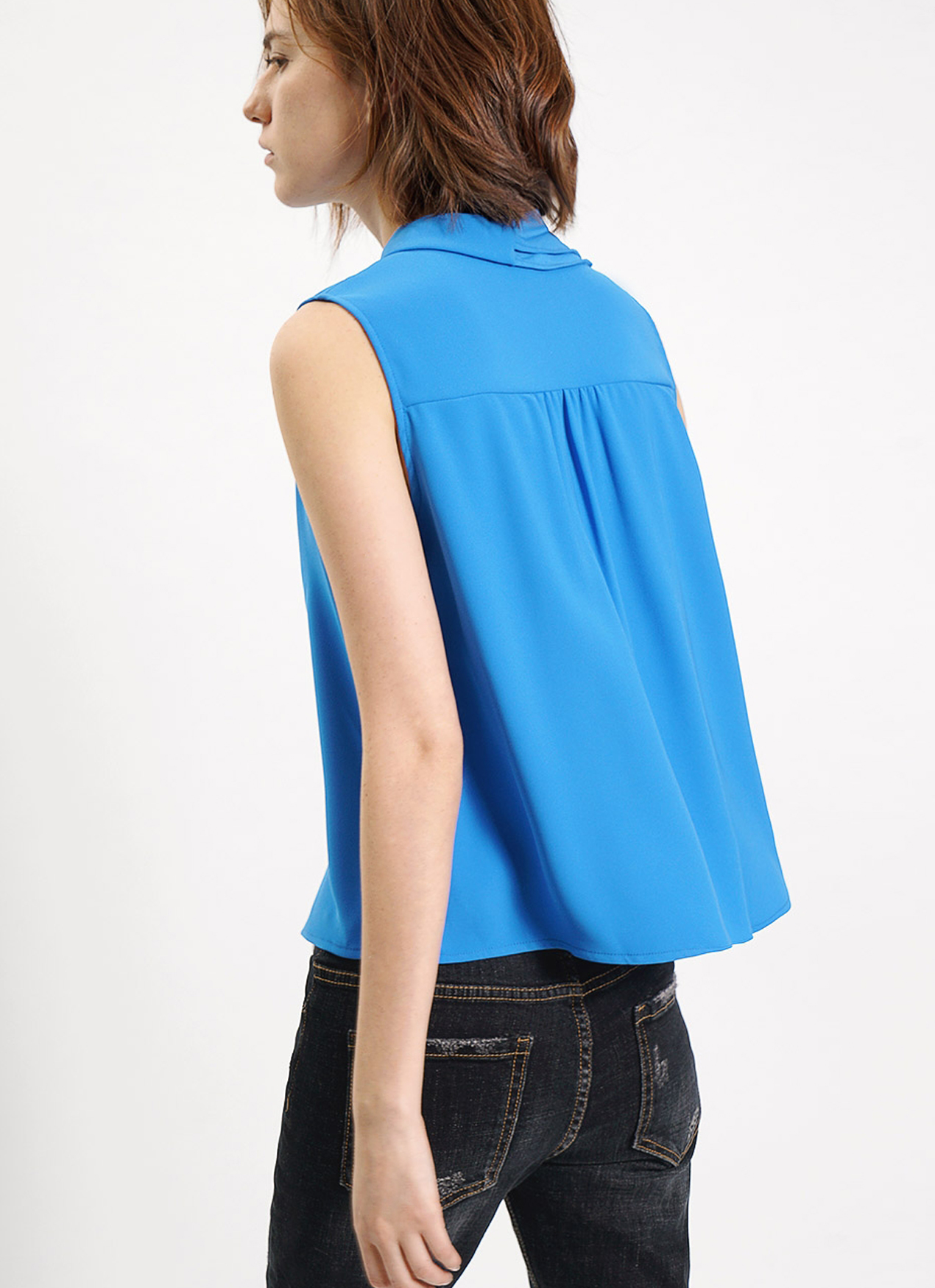 Saturday Club Blue Ruffled Scarf Neck Crepe Top