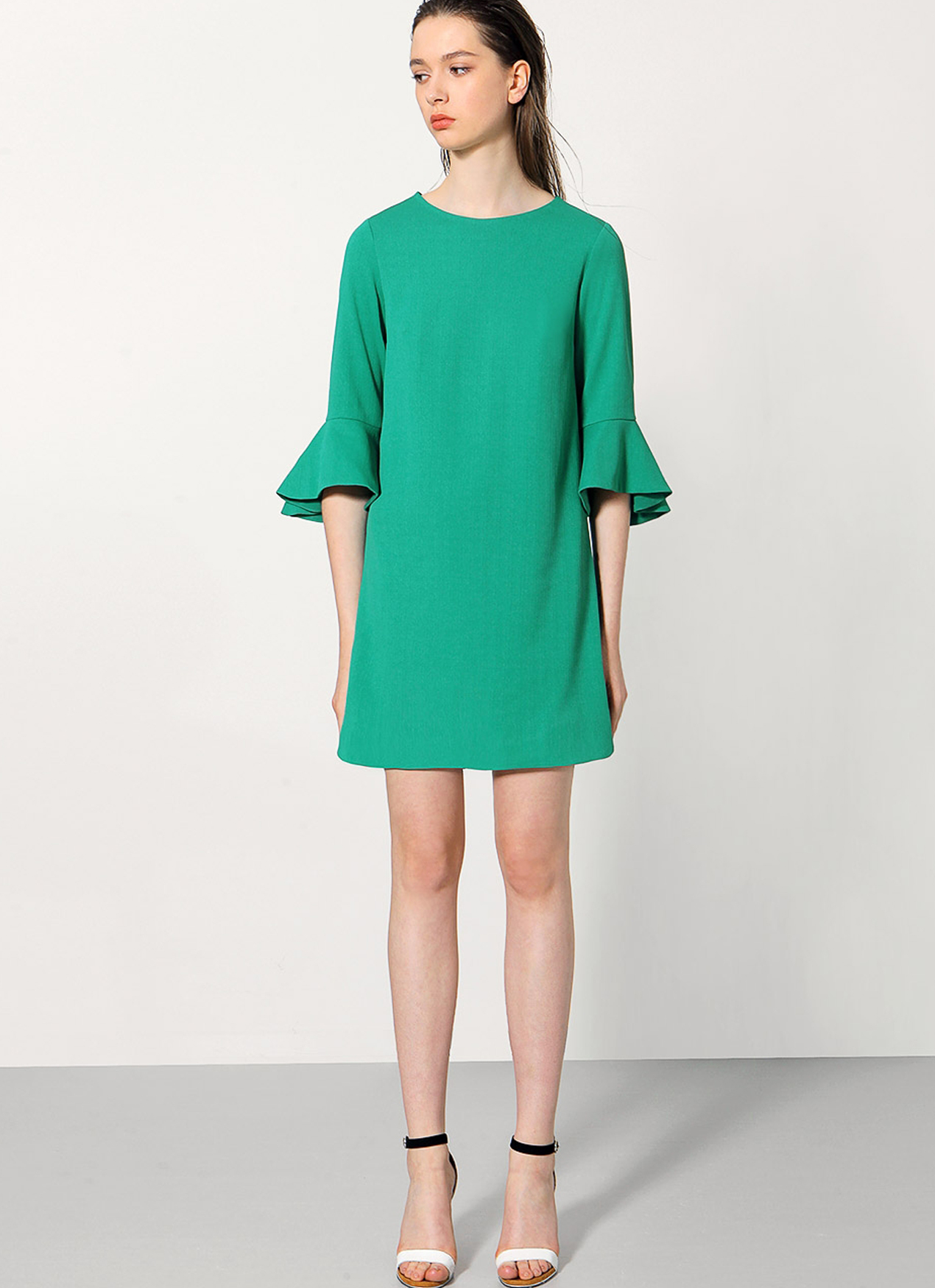 Saturday Club Green Bell Cuff Long Sleeved Shift Dress