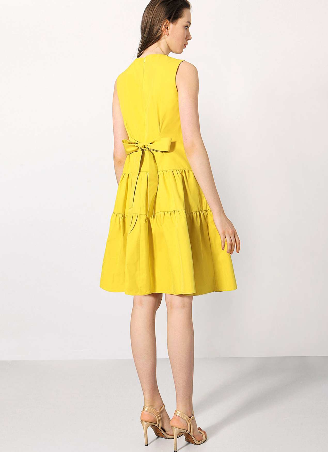 Saturday Club Yellow Flare Dress With Gathered Skirt