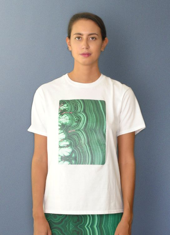 Void Cities White with Green Printed Malachite T-Shirt