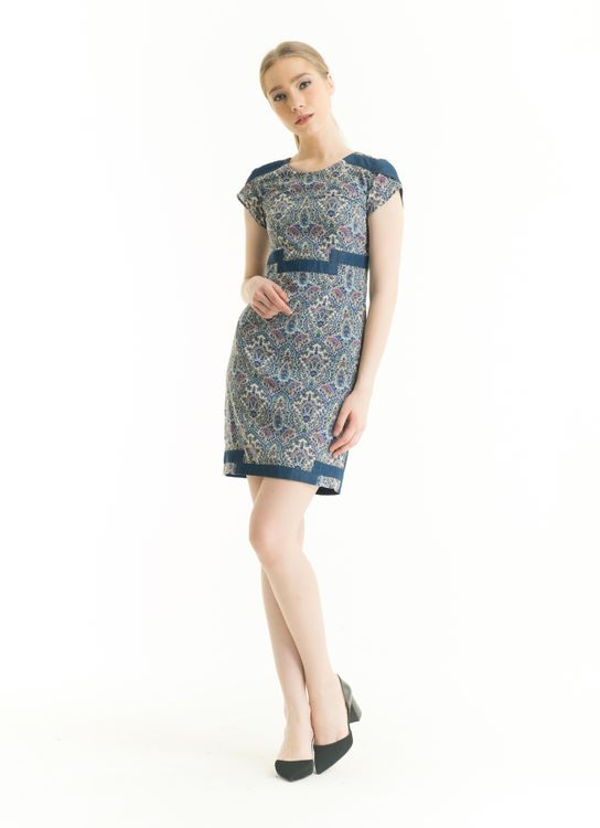 Bateeq Blue LA17/023A Short Sleeve Polyester Print Dress