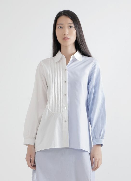 WILSEN WILLIM White & Cotton Blue Agnes Shirt