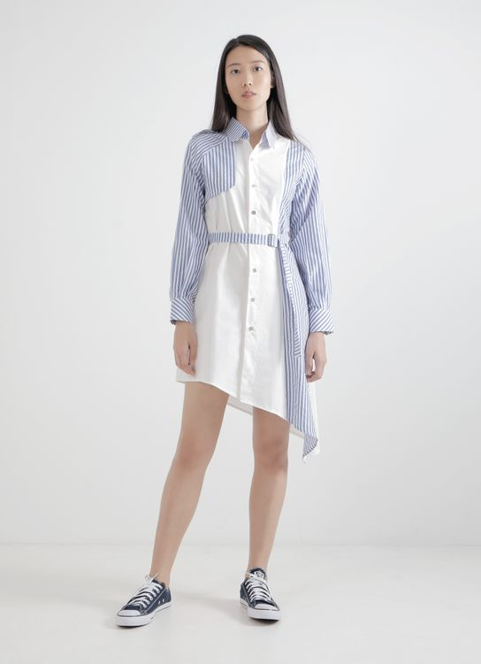 WILSEN WILLIM White & Dark Blue Jessica Shirt Dress