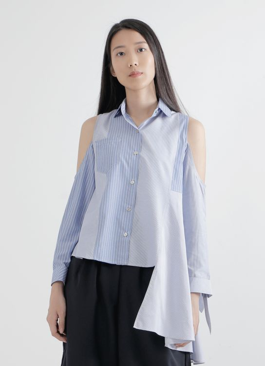 WILSEN WILLIM Dark & Light Blue Olivia Shirt