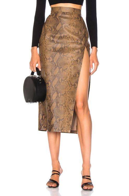 Zeynep Arcay for FWRD Snake Skin Print Leather Midi Skirt