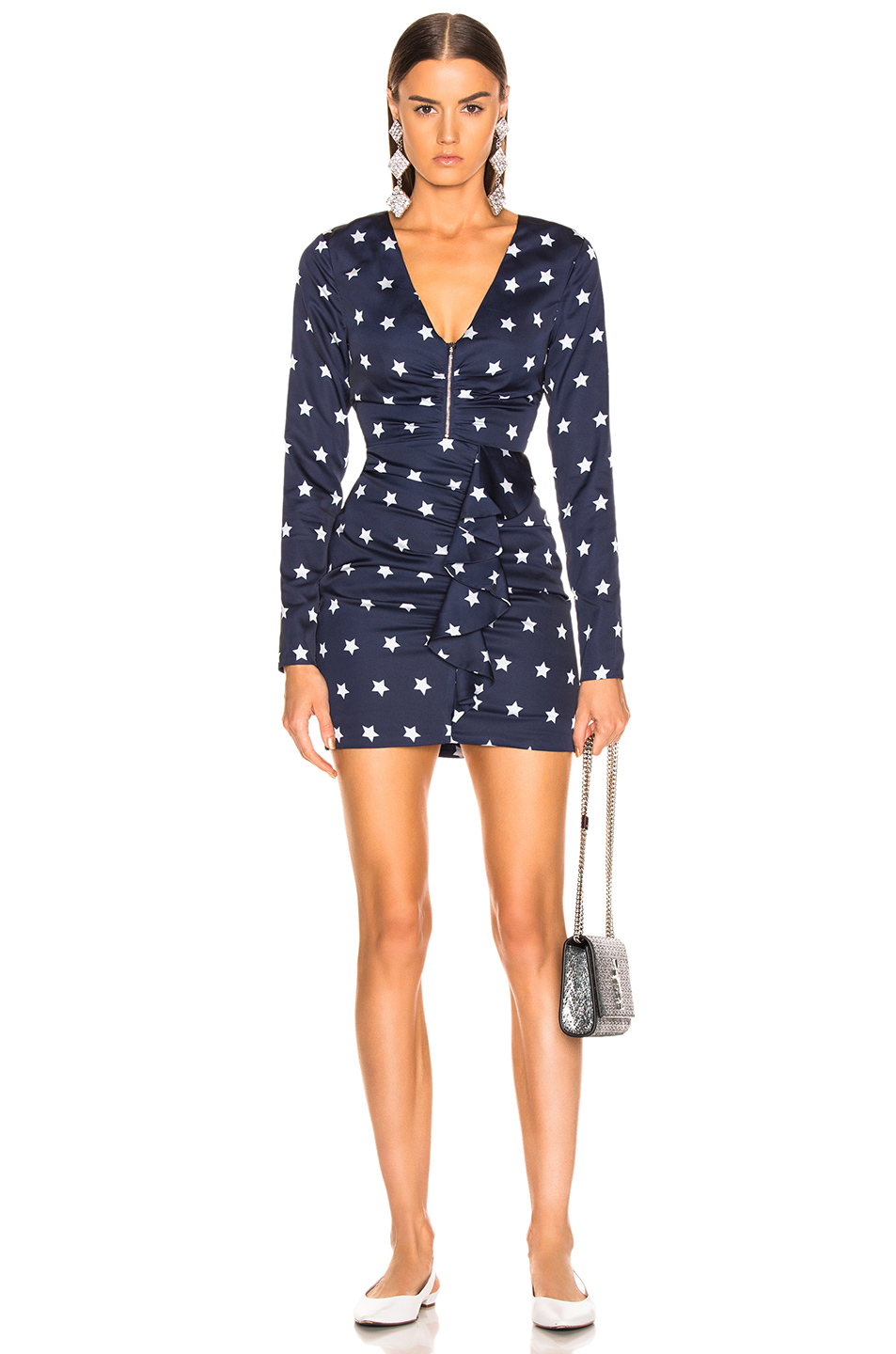 self-portrait Star Printed Long Sleeve Dress