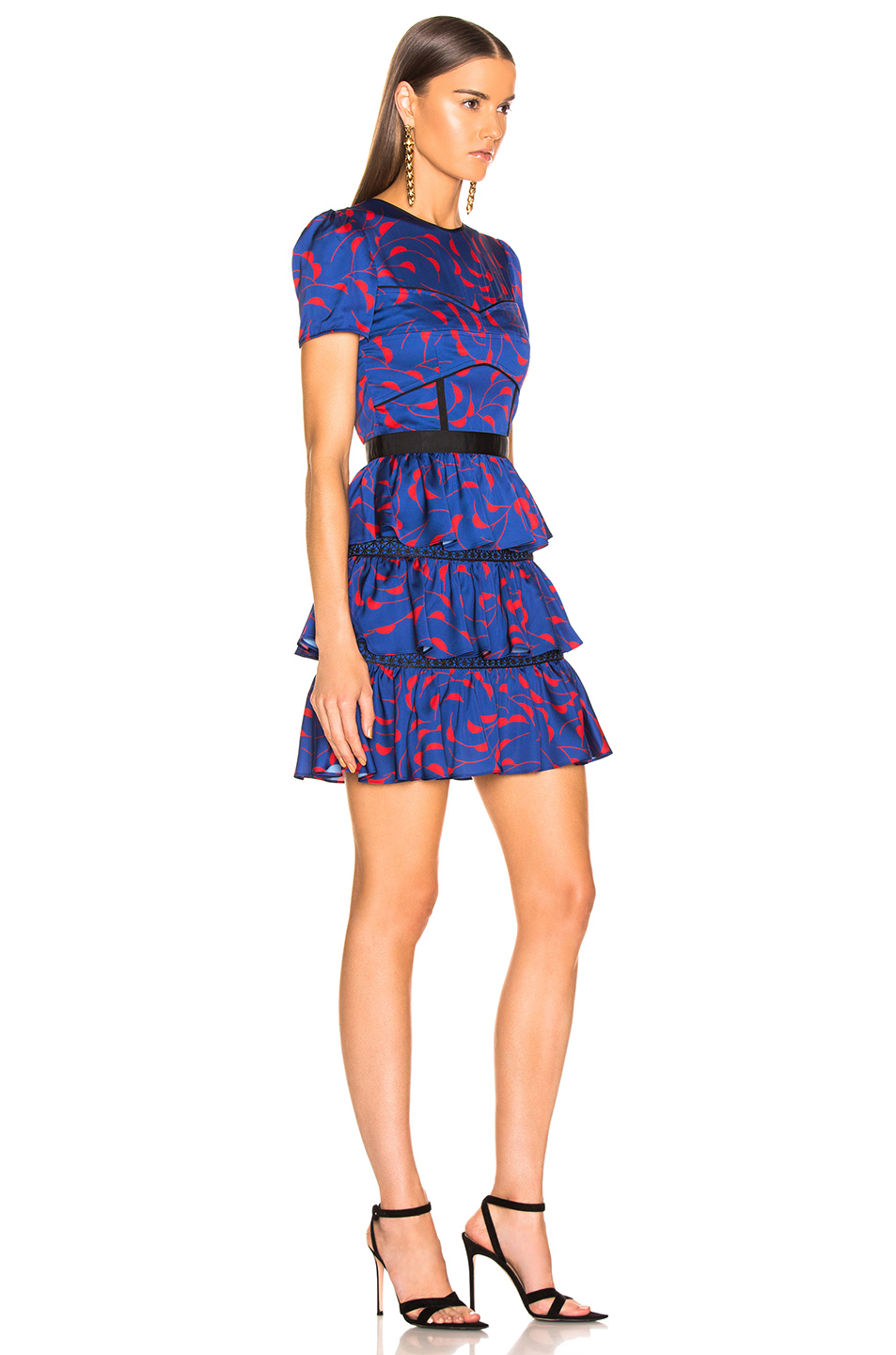 self-portrait Tiered Printed Mini Dress