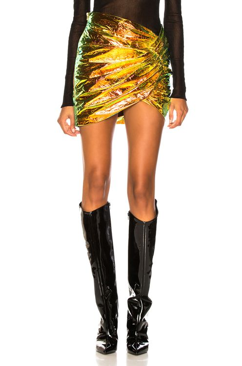 ALEXANDRE VAUTHIER Holographic Leather Ruched Mini Skirt