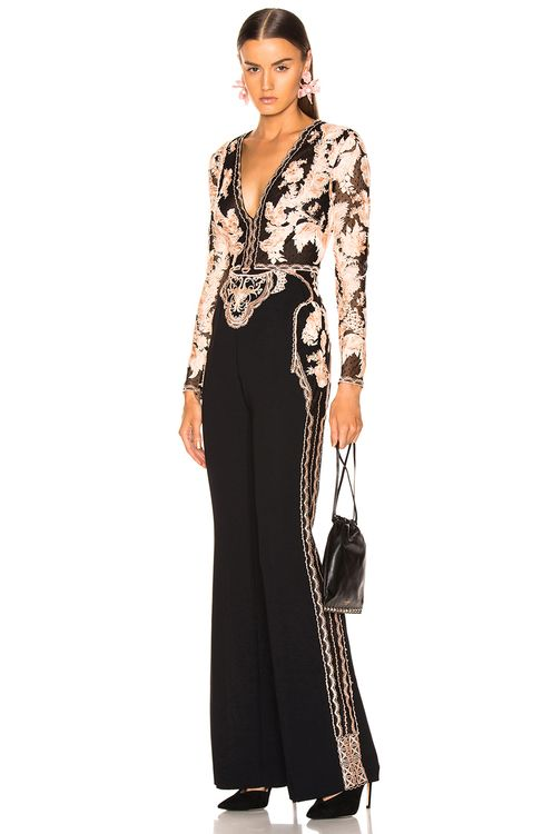 Zuhair Murad Floral Frame Embroidered Jumpsuit