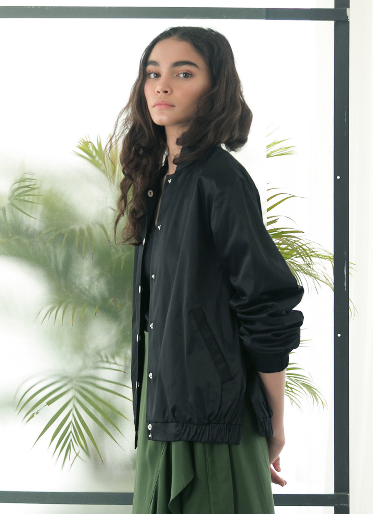 Eesome Black Palm Bomber Jacket
