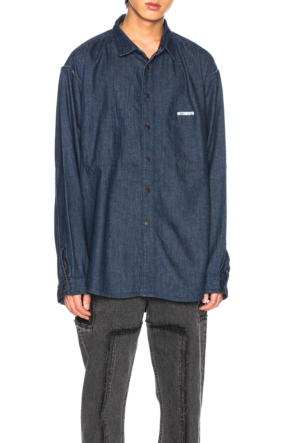 ff620e3db2c Buy Original VETEMENTS Oversized Inside Out Denim Shirt at Indonesia ...