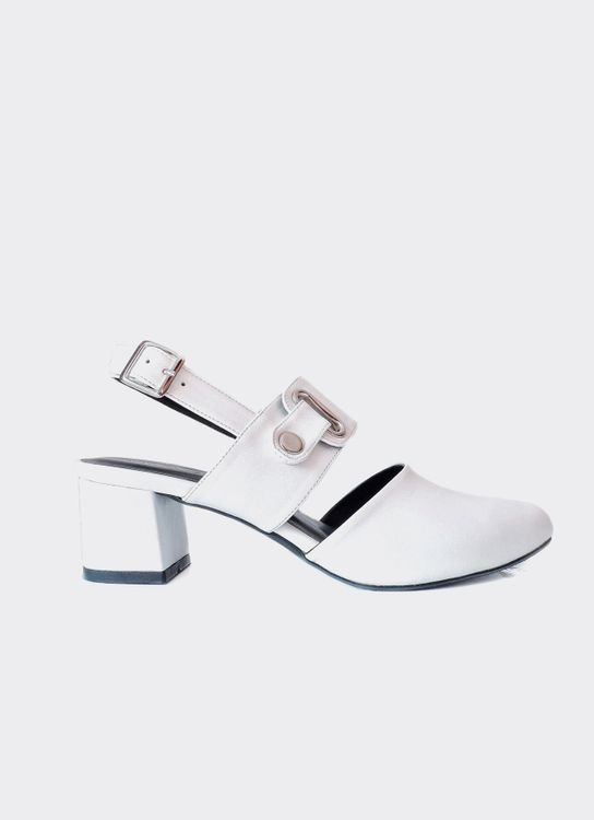 Nakedsol White Kerry Block Heels