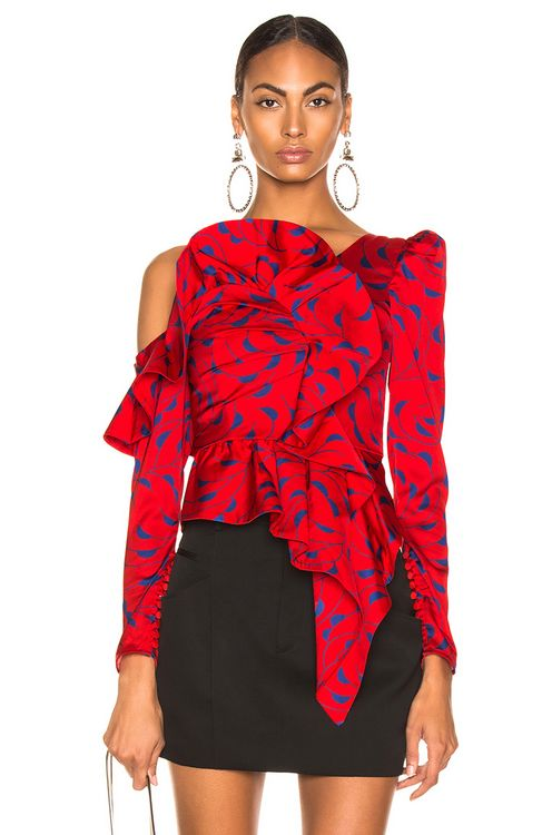 Self Portrait Printed Red Frill Top