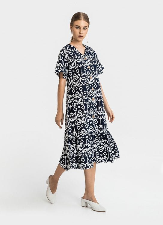 Warangka Batik Navy Sovii Peplum Midi Dress