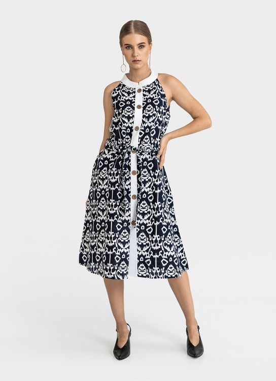 Warangka Batik Navy Dolce Buttoned Midi Dress