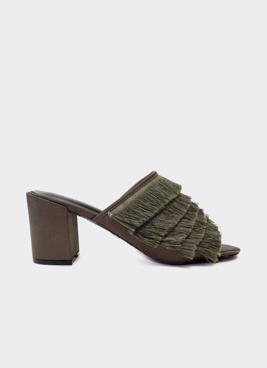 Nakedsol Green Beverly Block Heels