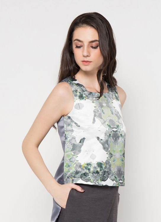 NFRT Green Printed Willow Top