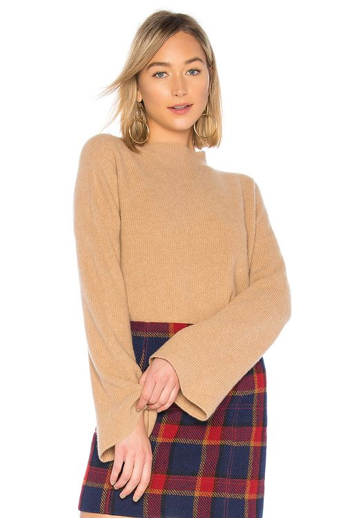 BROWN ALLAN The Ribbed Bell Sleeve Sweater