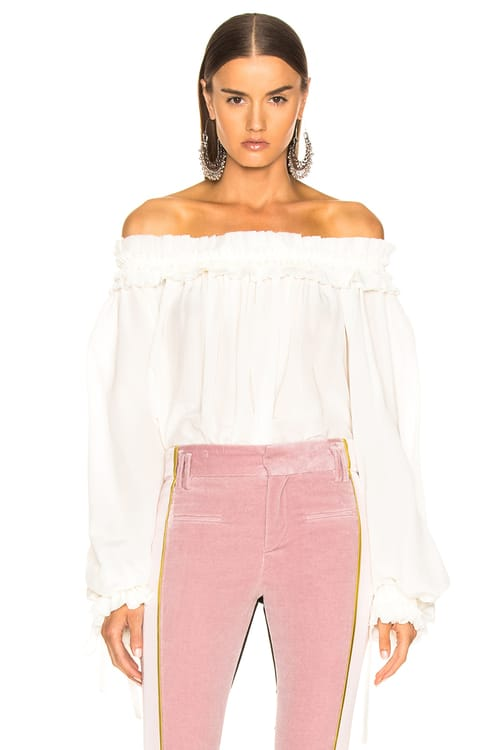 Haider Ackermann Blouson Sleeve Off Shoulder Blouse