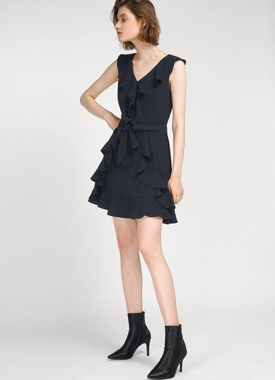 Saturday Club Navy Ruffles A-line Dress