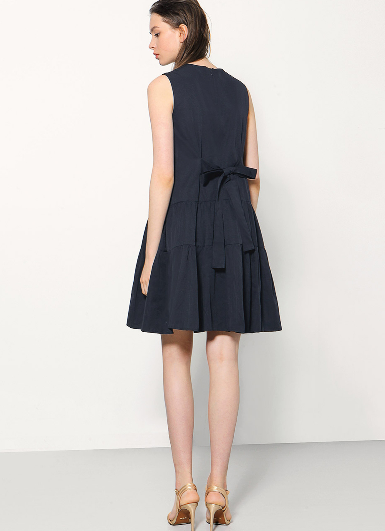 Saturday Club Navy Flare Dress With Gathered Skirt