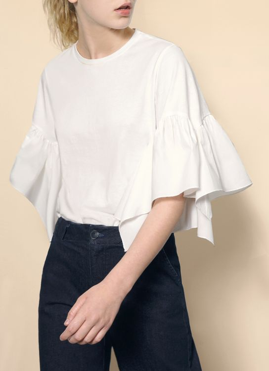 Saturday Club White Gathered Wide Sleeve Top