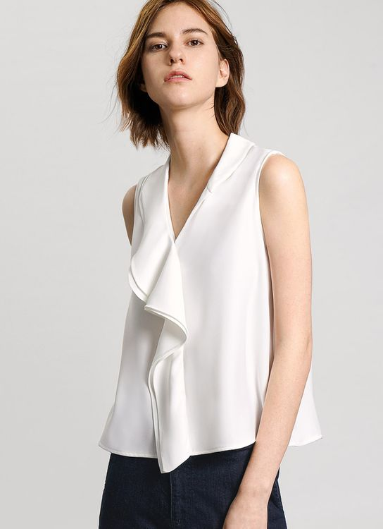 Saturday Club White Ruffled Scarf Neck Crepe Top