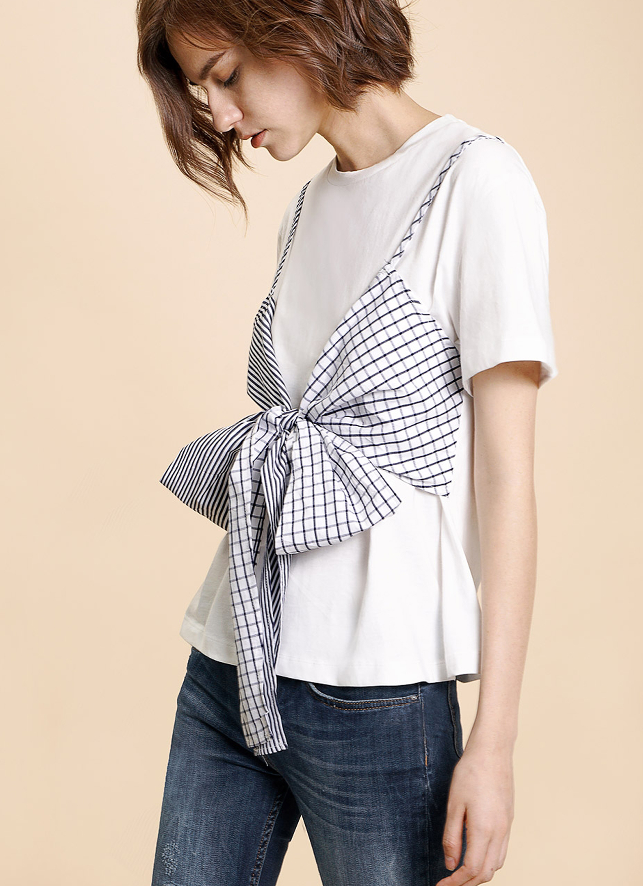 Saturday Club White Faux Double Layered Front Tie Top
