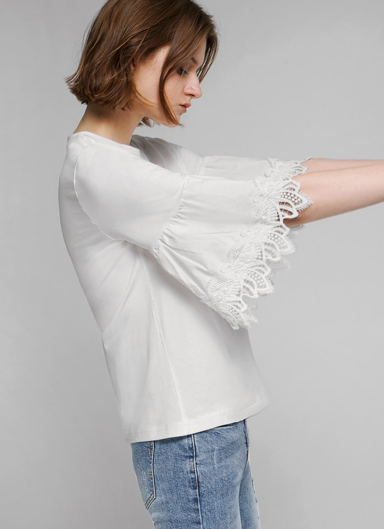 Saturday Club White Trumpet Sleeve Top With Lace Trim