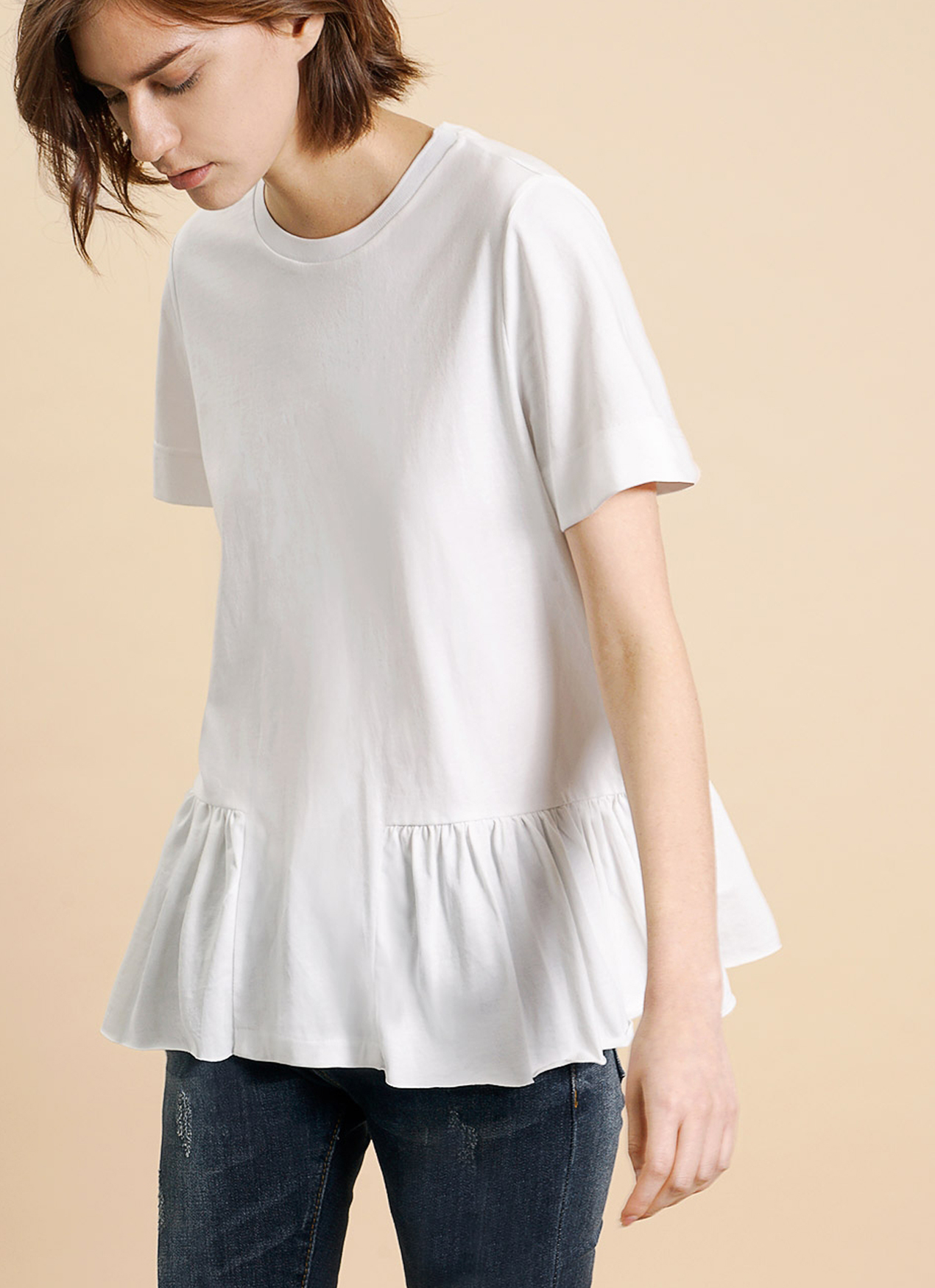 Saturday Club White Cotton Jersey T-shirt With Gathered Hem