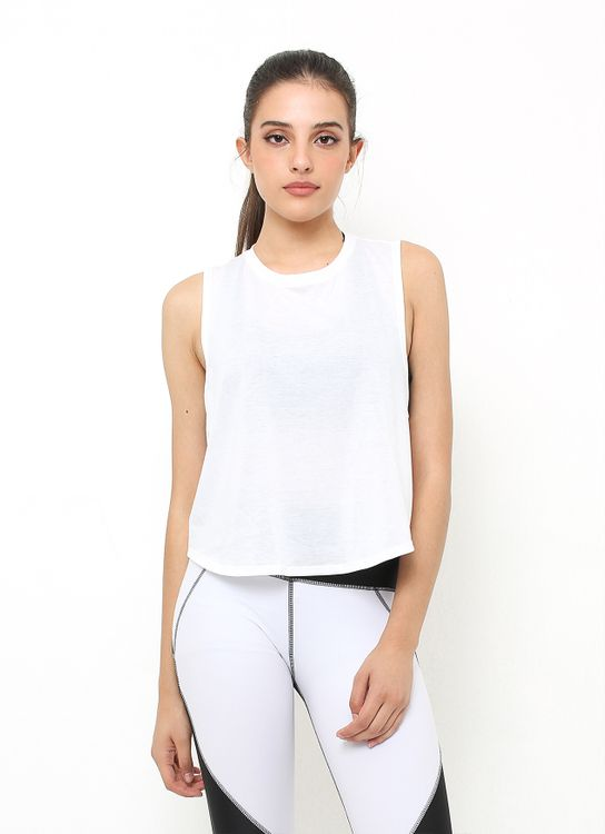 Cuca Active White Cross Back Tank Top