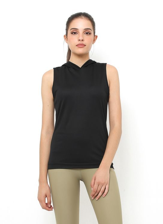 Cuca Active Black Sport Sleeveless Top with Hood