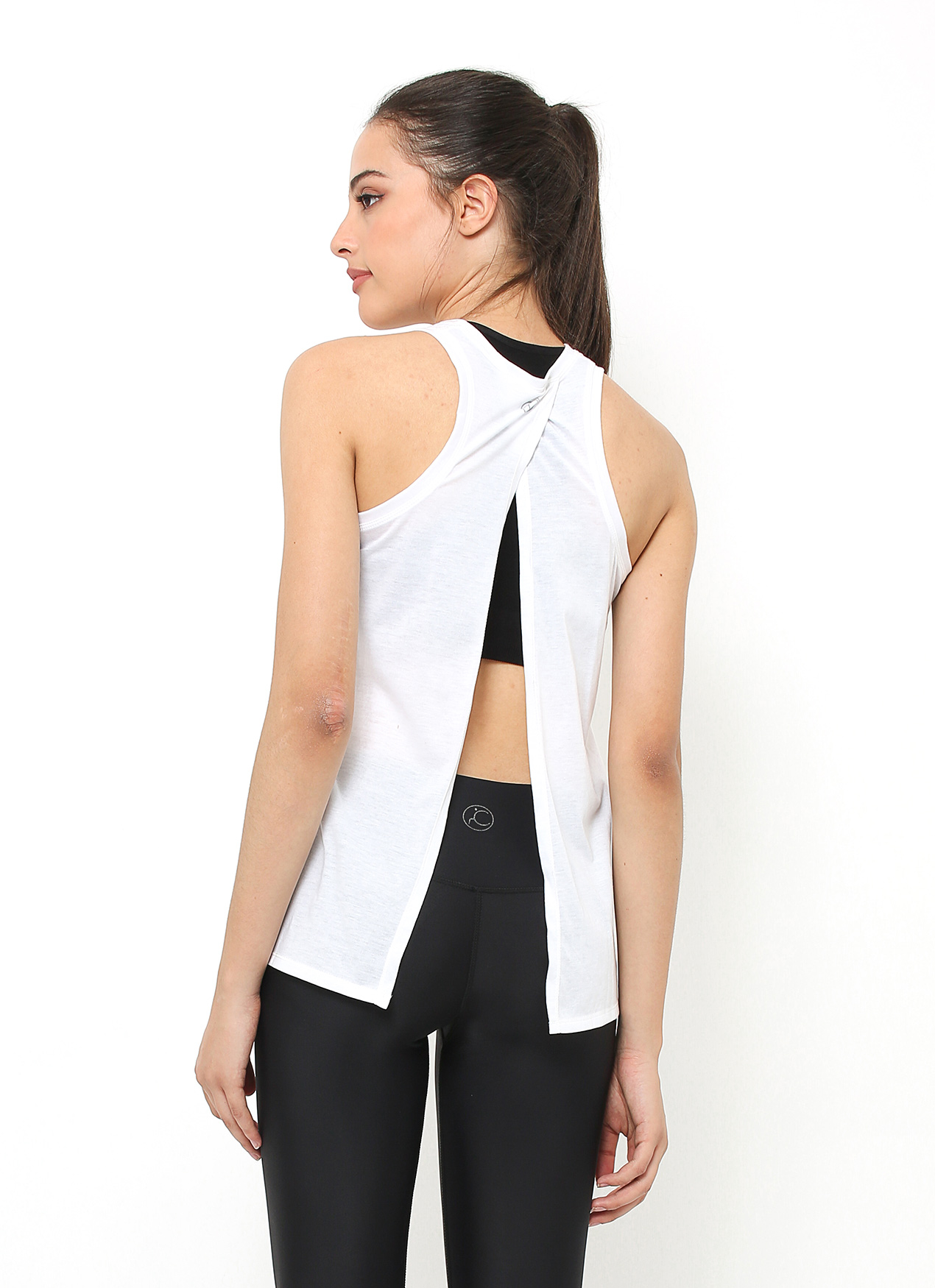 Cuca Active White Wing Back Tank Top