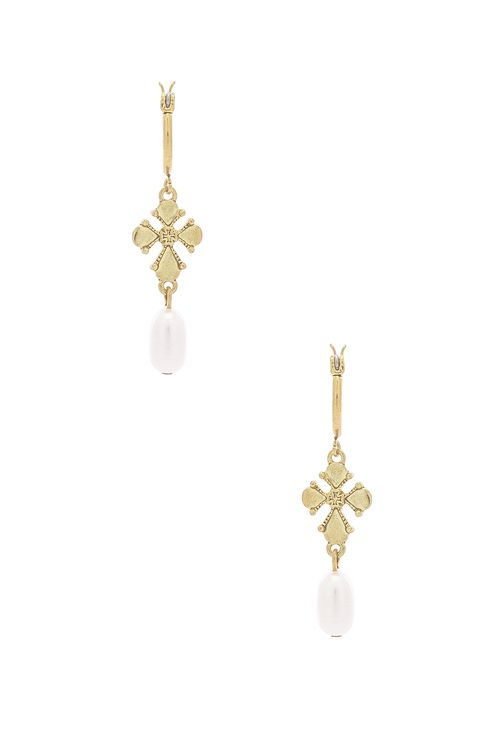 Luv Aj Nouveau Cross With Freshwater Pearl Mini Hoops